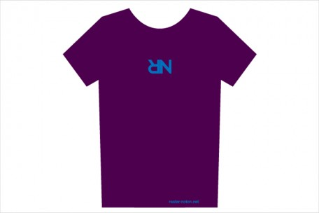 t-shirt - upside down RN logo - dark plum
